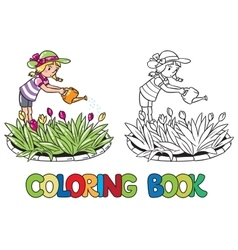 Girl watering the flowers coloring book vector