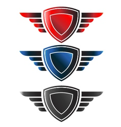 Shield with wings logo vector