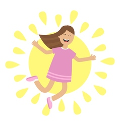Girl jumping isolated sun shining icon summer time vector
