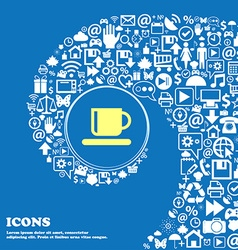 Coffee cup sign symbol nice set of beautiful icons vector