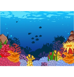 Beauty corals with underwater view background vector