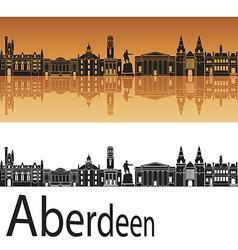 Aberdeen skyline in orange background vector image