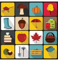 Autumn icons set flat ctyle vector