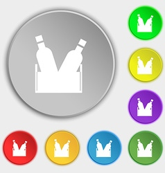 Beer bottle icon sign symbol on eight flat buttons vector