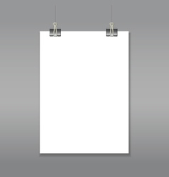 Blank page mock up hanging on paper clips vector