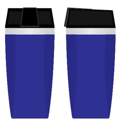 Blue disposable cup set isolated on white vector