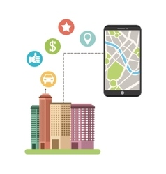 cityscape with gps service vector image
