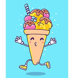 colorful of character ice cream with legs an vector image