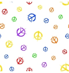 Colorful pacifist symbols pattern painted vector image