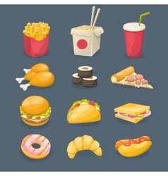 Fast Food Decorative Icons vector image
