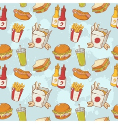 Fastfood delicious hand drawn seamless pattern vector image vector image