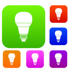 Glowing led bulb set collection vector
