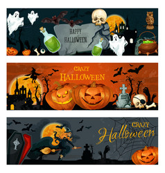 Halloween banner for spooky october holiday design vector