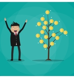 Happy businessman and money plant vector