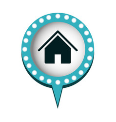 house in circular speech with blue contour with vector image