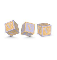 Letter v wooden alphabet blocks vector