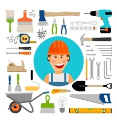 Male worker with working and construction tools vector