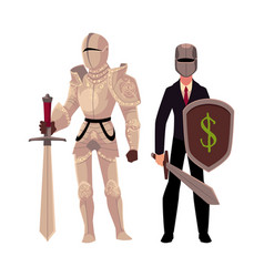 Medievel and modern businessman knight in metal vector
