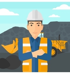 Miner with mining equipment on background vector image
