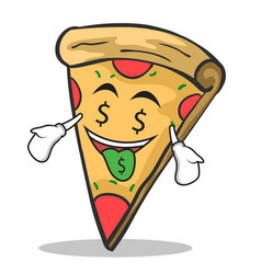 money mouth face pizza character cartoon vector image