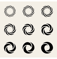 Nine Twisting Circes Logo Design Elements vector image