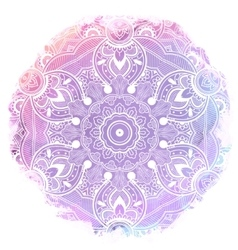 Paisley mandala over watercolor art vector