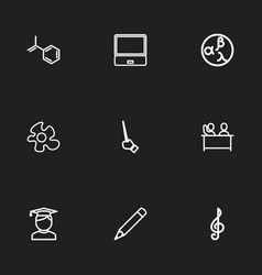 Set of 9 editable science outline icons includes vector