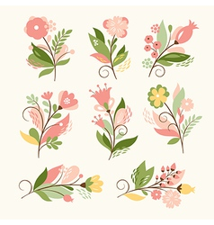 Set of beauty floral bouquets vector image vector image