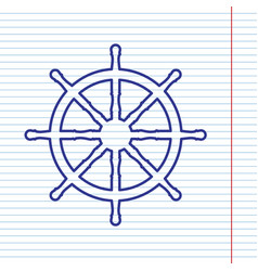 Ship wheel sign navy line icon on vector