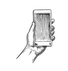 Smartphone hold male hand vintage drawn vector