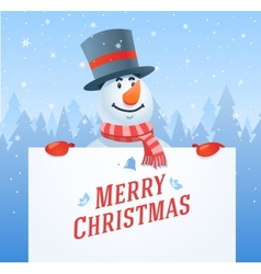 Snowman with banner christmas background vector image vector image