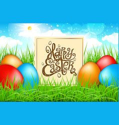 spring colorful eggs in a field of grass with vector image vector image