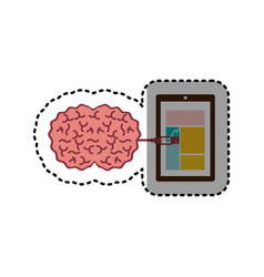 Sticker tablet and usb connected to brain vector