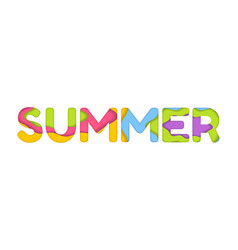 Summer typography in trendy 3d paper cut effect vector