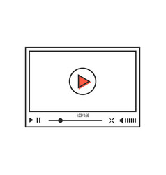 thin line video player interface vector image