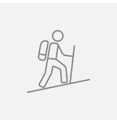 Tourist backpacker line icon vector