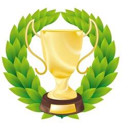 trophy cup vector image vector image
