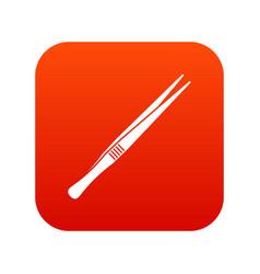 Tweezers icon digital red vector