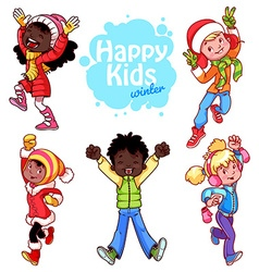 Very happy kids in winter clothes vector image