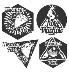 Vintage mexican food emblems vector image