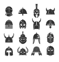 warrior helmets set icons on white background vector image