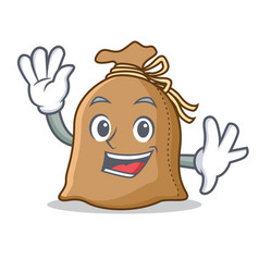 waving sack character cartoon style vector image vector image