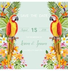 Wedding card tropical flowers parrot bird vector