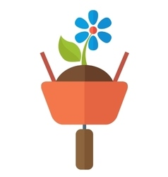 Wheelbarrow with plant vector
