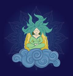 yoga girl on the cloud vector image
