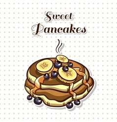 Pancakes with banana vector