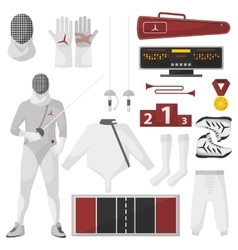 Fencing sport equipment set vector