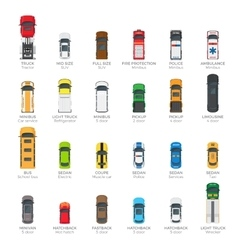 Collection of various modern kinds of automobiles vector