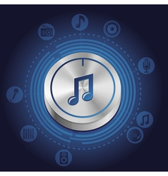 Music concept with metal button and icons vector