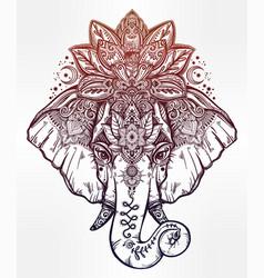 decorative elephant with lotus mandala crown vector image